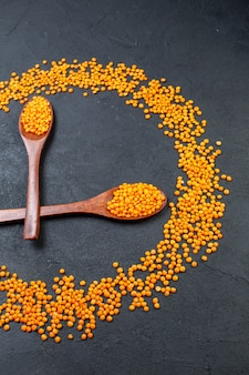 Vertical view of red lentils lined up in a circle and in spoons on black background with free space