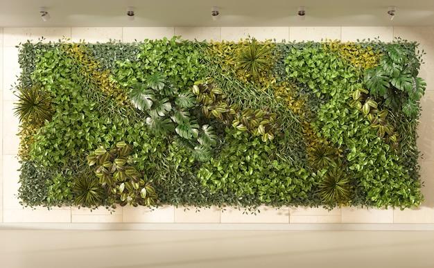 인테리어 디자인의 수직 벽 정원 3d 렌더링