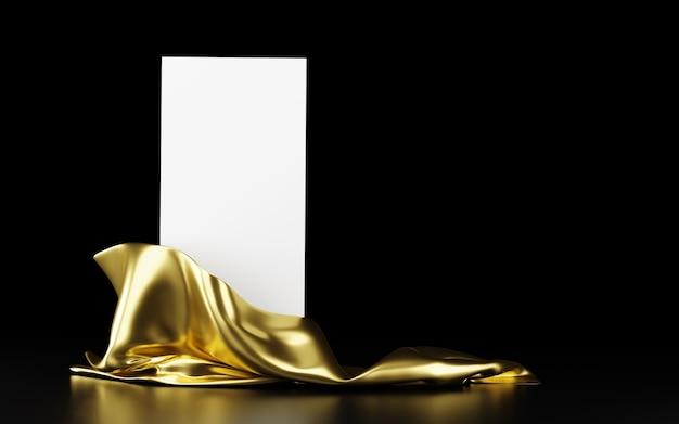 검정색 배경에 반사가 있는 황금 천으로 된 수직 흰색 스탠드. 배너, 프레젠테이션, 광고용 템플릿입니다. 3d 그림