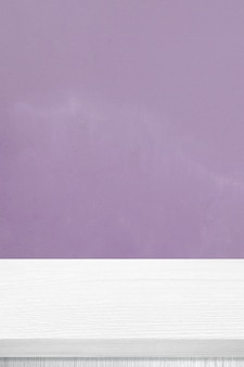 Vertical white wood table and purple wall background