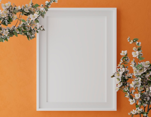 Vertical wooden frame mock up on orange wall with flowers