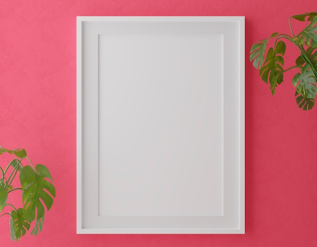 Vertical wooden frame mock up on red wall with plants