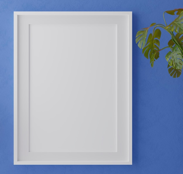 잎 파란 벽에 수직 나무 프레임