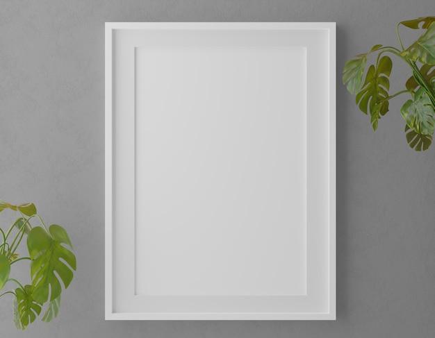 식물을 가진 회색 벽에 수직 나무 프레임