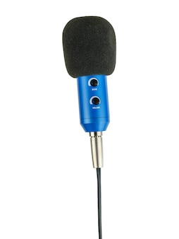 Vertically positioned blue microphone with wire isolated.
