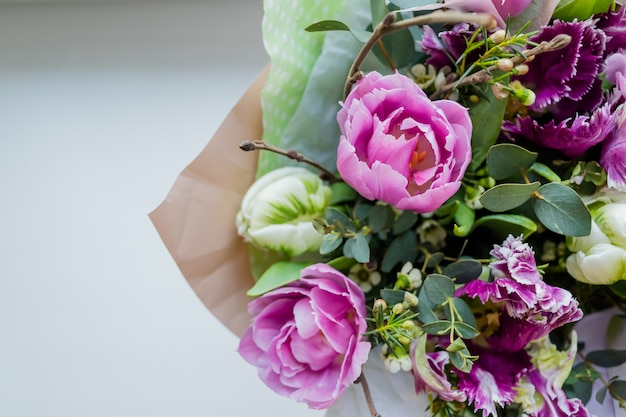Very beautiful colorful blossoming flower bouquet of fresh quicksand roses