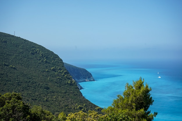 Very beautiful view of the beach and the blue mediterranean sea