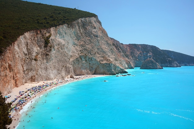 Very beautiful view of the blue mediterranean sea in greece