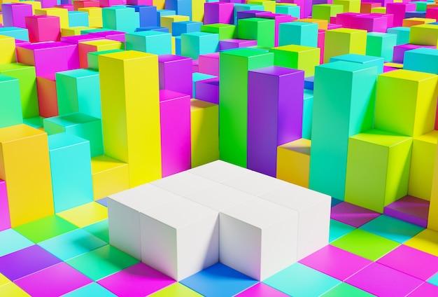 흰색 스탠드가있는 큐브의 매우 다채로운 제품 연단