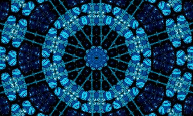 非常に濃い青の丸い光沢のあるフレームの背景。技術の背景。