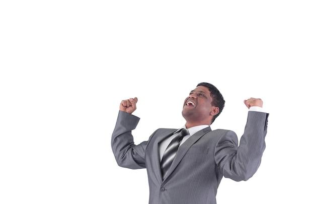 Очень счастлив бизнесмен. изолированные на белой стене. фотография с копией пространства