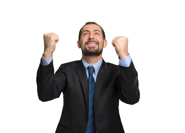 Very happy employee portrait, white background