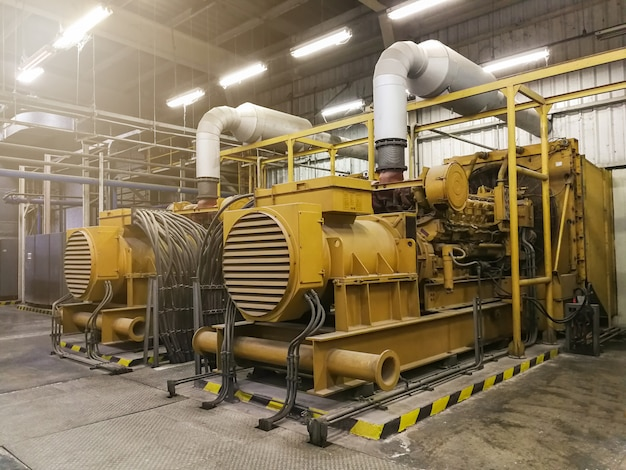A very large electric diesel generator in factory,equipment plant modern technology indust