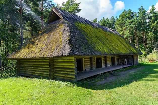 北ヨーロッパの典型的な非常に古い伝統的な家で、木と枝の屋根で作られています