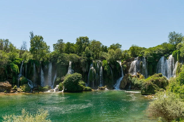 A very picturesque waterfall is in the kravice national park in bosnia and herzegovina.