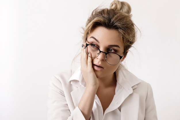 Very tired businesswoman. concepts of  the overtime work and problems in business.