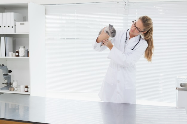 Vet holding a small rabbit in her office