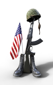 Veterans day, fallen soldier tribute, helmet, gun, boots and flag, 3d render, 3d illustrat