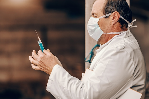 Ветеринар в белом халате и защитной маске держит буфер под мышкой и готовится сделать укол свинье.