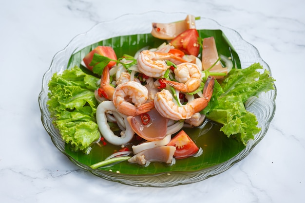 Vfresh mixed seafood salad, spicy and thai food.