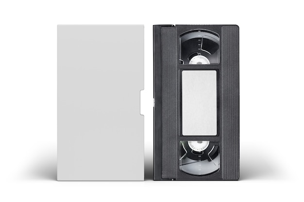 Vhs video tape cassette with blank cover and label isolated
