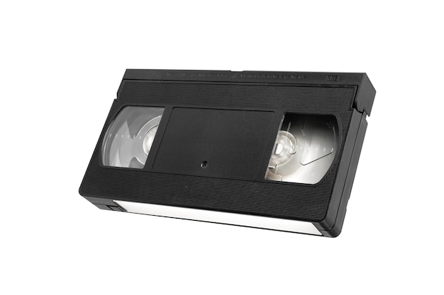Vhs videotape for watching movies isolated on white
