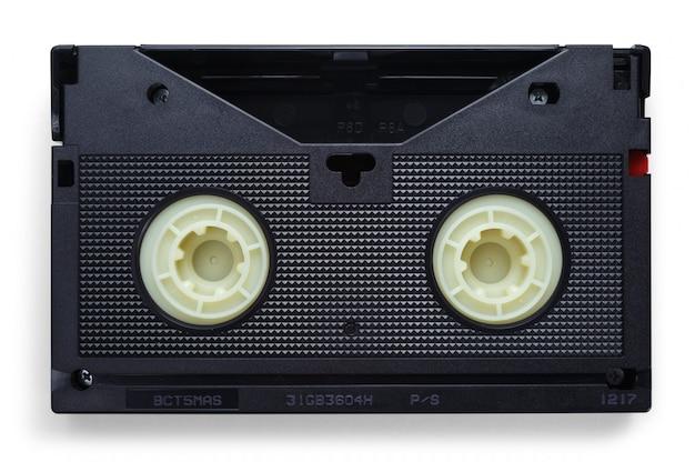 白い背景の上のvhsビデオテープ