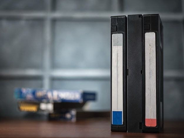 Vhs videotapes on the table
