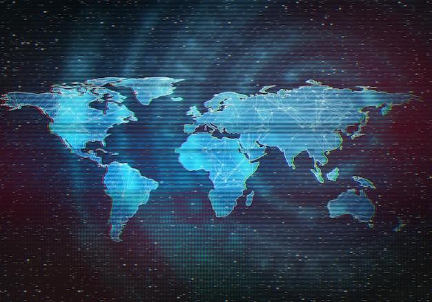 世界地図の抽象的なデジタルイラスト。歪んだインターフェース画面、信号エラー、失敗。 vhsデッドピクセルの概念図。