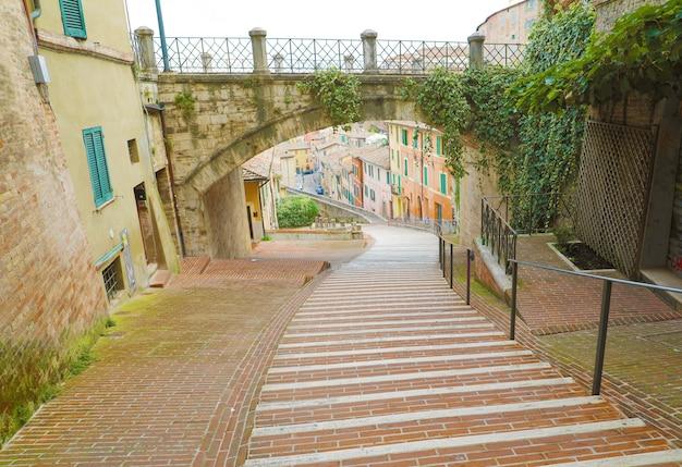 Via appia street in perugia historic quarter, italy