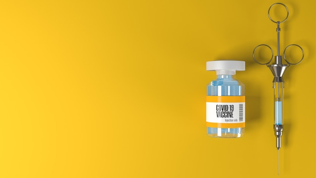 노란색 장면에 코로나 바이러스 또는 covid19 백신 및 빈티지 주사기가있는 튜브 및 텍스트 복사 공간
