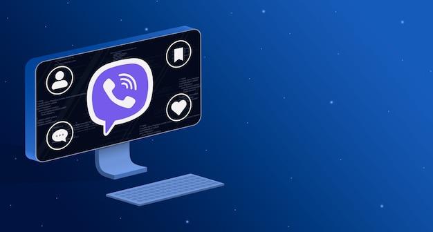ソーシャルアクティビティバッジ3dとコンピューター画面上のviberアプリケーションアイコン