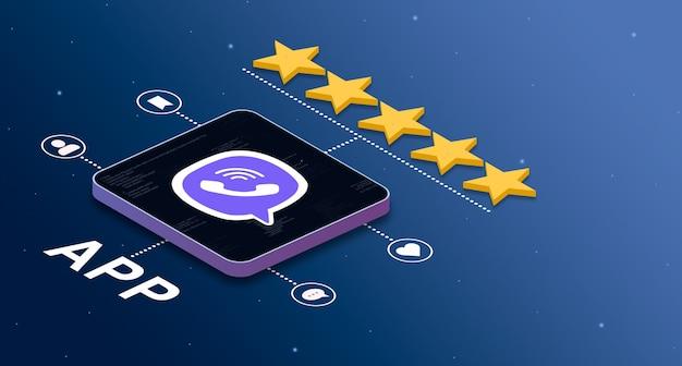 5つ星の評価とソーシャルアクティビティバッジ3dを備えたviberアプリケーションアイコン