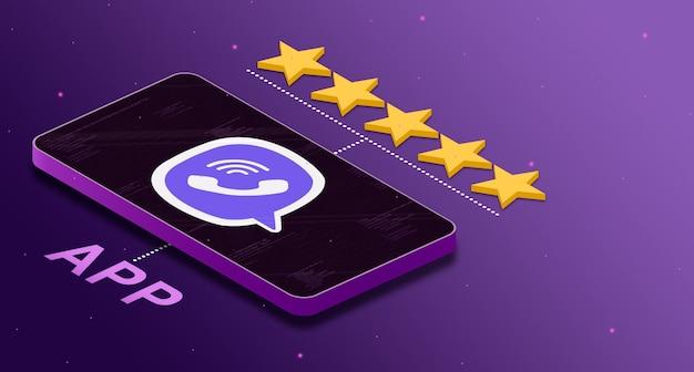 5 별 등급 3d로 전화에 viber 응용 프로그램 로고