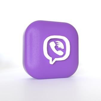 3dレンダリングを備えたviberアプリケーションのロゴ