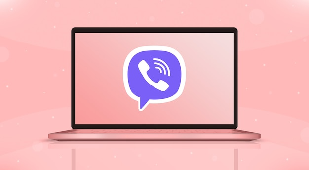 ノートパソコンの画面の正面図3dのviberアイコンのロゴ