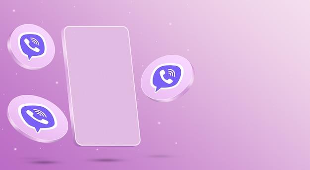 휴대 전화 3d 렌더링 viber 아이콘