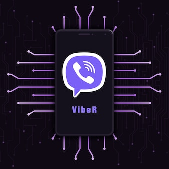 기술 배경 3d에 전화 화면에 viber 로고 아이콘