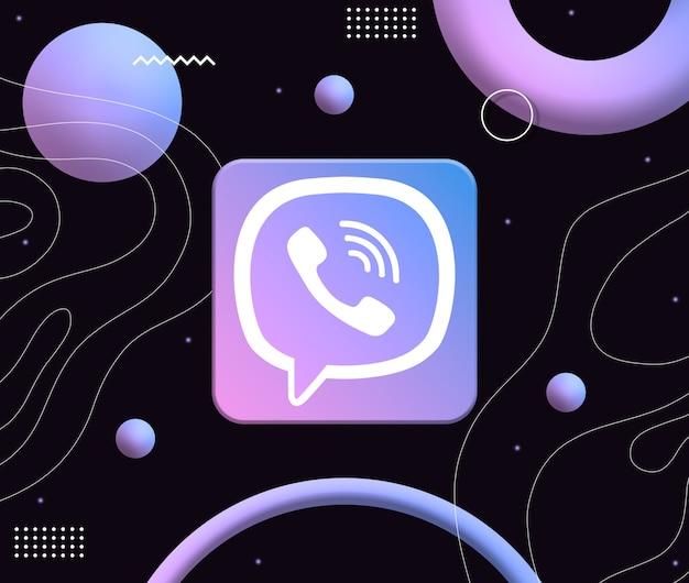 미적 네온 모양의 배경에 viber 로고 아이콘 3d