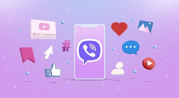 Значок логотипа viber на телефоне с иконками социальных сетей вокруг 3d