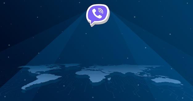 세계지도 3d의 모든 대륙에 viber 로고 아이콘