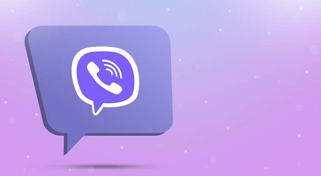 Viber logo icon on speech bubble 3d