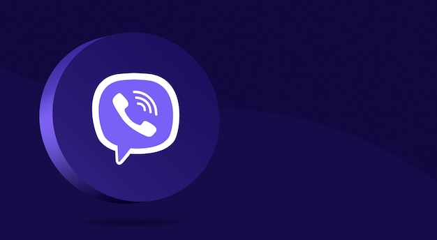 Минималистичный дизайн логотипа viber на круге 3d