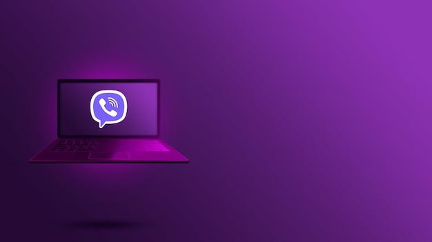 Логотип viber на экране ноутбука 3d модель