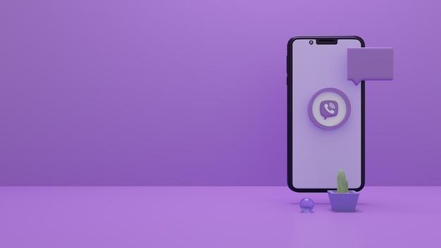 휴대 전화 화면에 viber 로고 3d 렌더링 세트