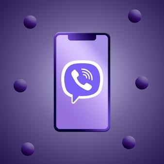電話スクリーンのviberロゴ3dレンダリング