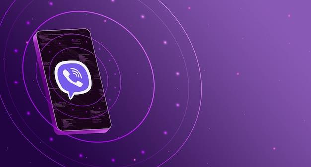 Логотип viber на телефоне с технологическим дисплеем, умный 3d-рендеринг