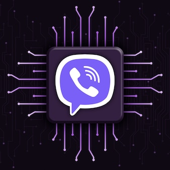 現実的なcpu技術の背景3dのviberロゴ