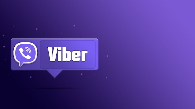 연설 거품 3d 렌더링에 viber 로고