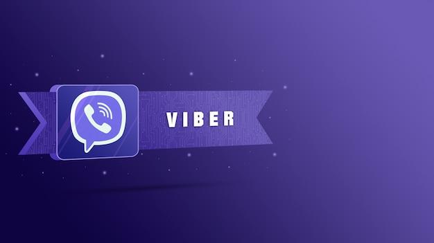 Логотип viber с надписью на технологической табличке 3d